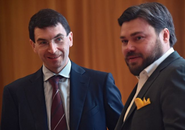 "Presidential adviser Igor Shchyogolev (left) and ""Safe Internet League"" founder Konstantin Malofeyev at the ""Holy Russia and Holy Mount Athos: Traditions and Modernity"" conference in January 2016."