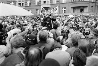 Václav Havel at the first permitted demonstration by the Czechoslovak opposition, December 10, 1988