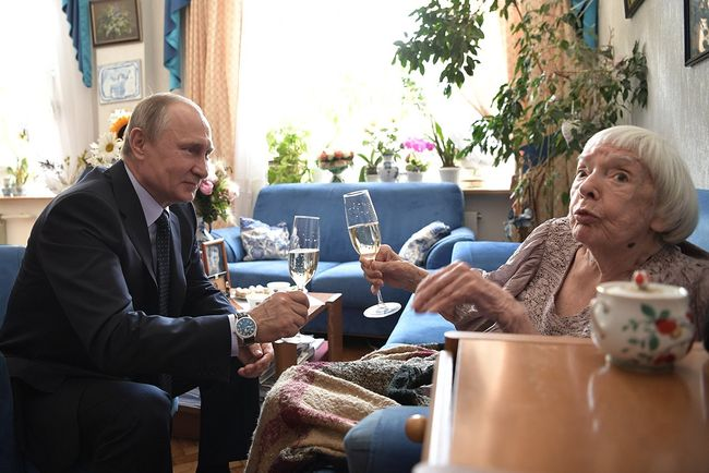 President Vladimir Putin congratulates Lyudmila Alexeyeva on her 90th birthday at her apartment in Moscow on April 20, 2017