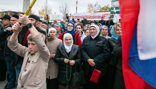 Protesters in Magas on October 31, 2018, the day after the World Congress of the Ingush People met in Ingushetia's capital