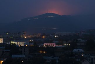 The view of the fighting in the Shusha region (in the mountains) as seen from Stepanakert on the night of November 5