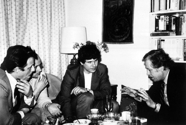 "Dissidents and participants in the ""Charter 77"" civic initiative meet at the American ambassador's residence in Prague in 1986. Farthest from the right is Václav Havel, the future president of Czechoslovakia."