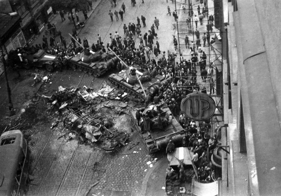 Prague during the invasion by Warsaw Pact armies, August 21, 1968