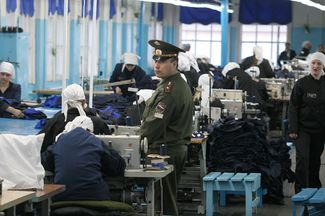 Inmates working in a prison sewing factory. Mordovia, Russia, March 20, 2007.