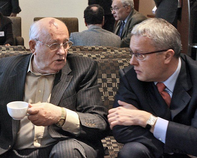"Gorbachev and the businessman Aleksandr Lebedev (who was then a deputy in the State Duma) at a conference entitled ""Does Russia Need the West?"" in Moscow. May 30, 2006"