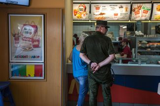 "A line at ""DonMac""—a fastfood restaurant opened by Donetsk entrepreneurs in an abandoned McDonald's."