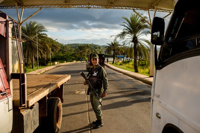 A National Guard officer stands at a checkpoint in El Callao, Venezuela. February 27, 2018