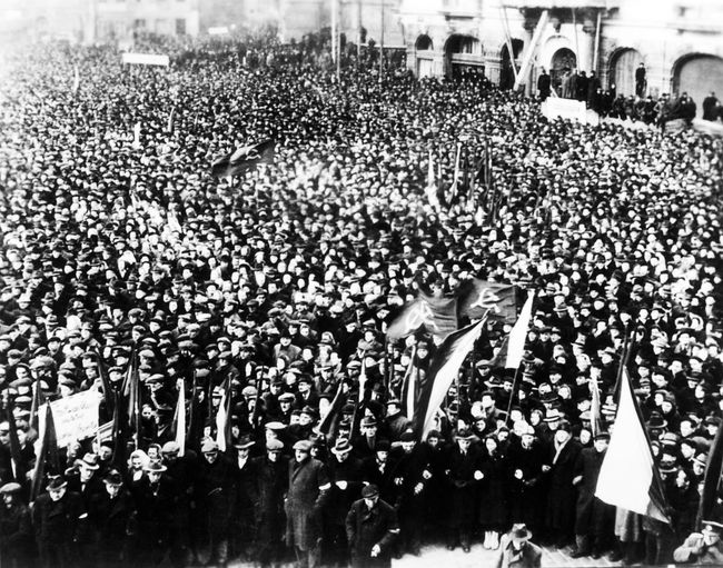 A rally in support of the Communist Party in Czechoslovakia in Prague's Old Town Square, February 21, 1948