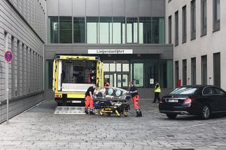 Paramedics at the Charité Clinic in Berlin on August 22, 2020