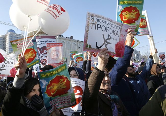 "Participants at the rally ""Love for the Prophet Muhammad"" in defense of Islamic values ​​and against cartoons about the Prophet. Grozny. January 19, 2015"