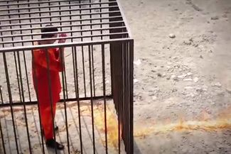 ISIL fighters execute the Jordanian air force pilot