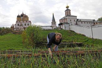 Послушник Валдайского Иверского Святоозерского Богородицкого мужского монастыря в Новгородской области ухаживает за грядками