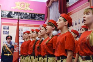 A YouthArmy induction ceremony at the Andrey Khrulev Military Academy in St. Petersburg on December 16, 2016