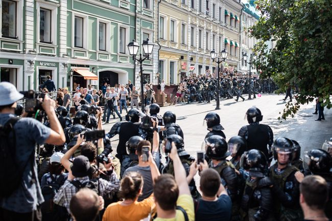 A scene from Moscow's opposition march on July 27