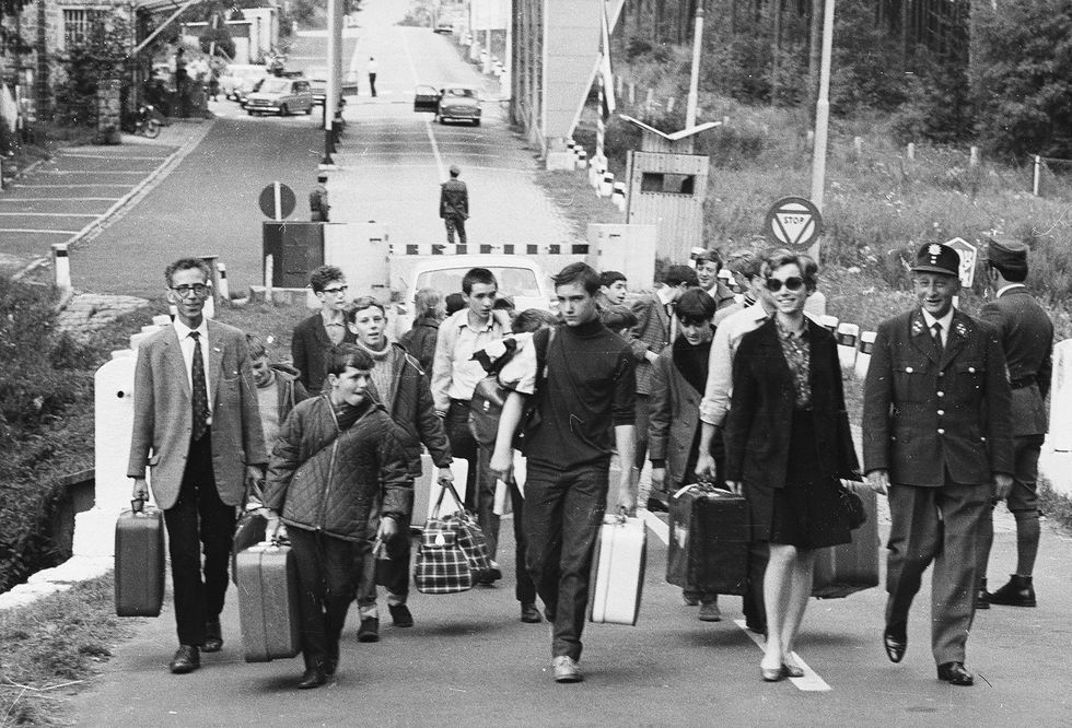 Refugees at the Czechoslovak-German border after the invasion by Warsaw Pact armies, August 25, 1968