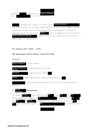 A typical redacted page from the FBI's summary of its interviews with Igor Danchenko
