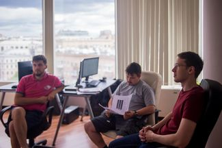 Kukharenko and his colleagues in the company office. Currently, N-Tech.Lab has fewer than ten employees. Moscow, July 5, 2016