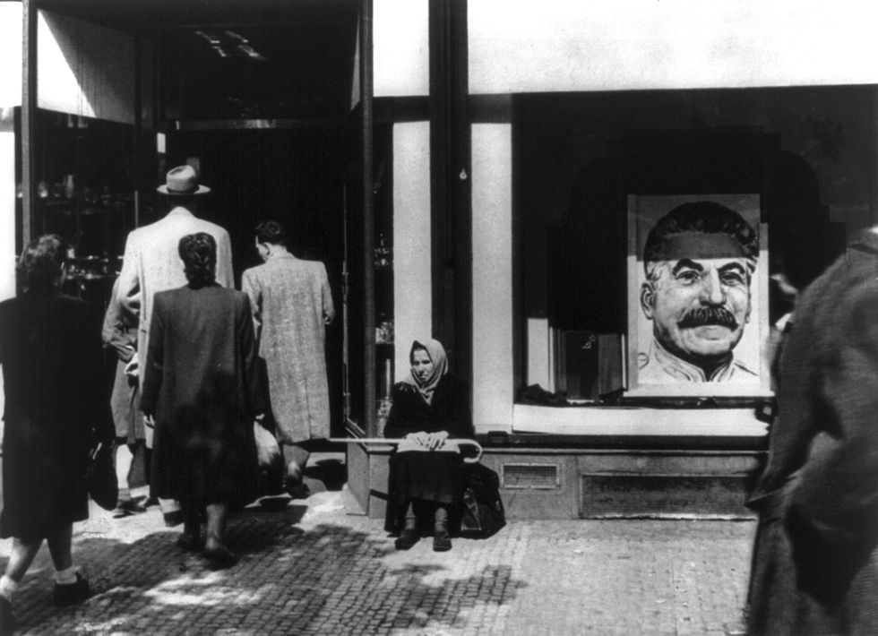 Shop window in Prague during the February 1948 events