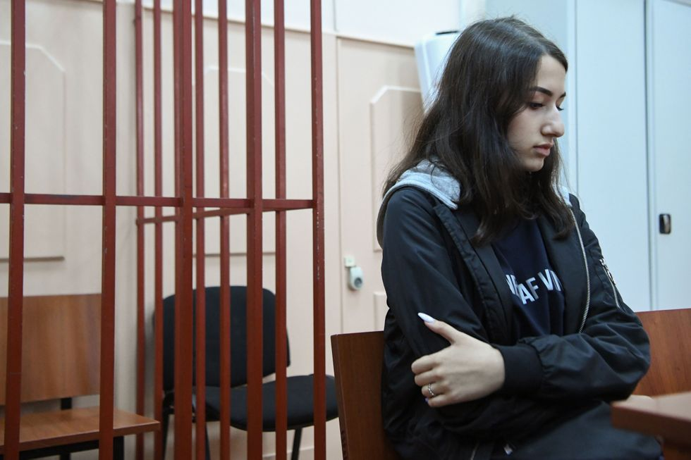 Maria Khachaturyan, one of three teenage sisters accused of murdering their father, in court in Moscow on June 26, 2019