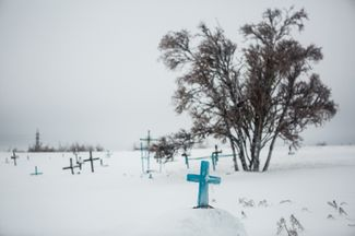 A cemetery for Gulag prisoners shot in the village of Yur-Shor during the Vorkuta Uprising on August 1, 1953.