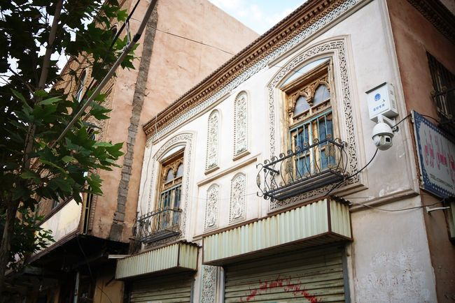 A well-preserved old Uyghur building in the historic city center