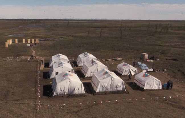 A video still showing the tent camp set up for Emergencies Ministry employees working to clean up the massive diesel spill in Norilsk. June 9, 2020