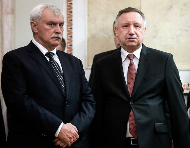 Former and current St. Petersburg governors Georgy Poltavchenko (left) and Alexander Beglov (right), October 3, 2018