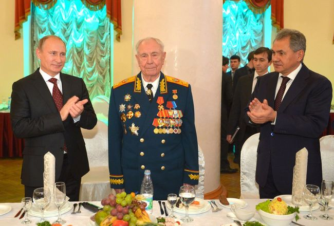 Vladimir Putin congratulates Dmitry Yazov on his 90th birthday, November 8, 2014