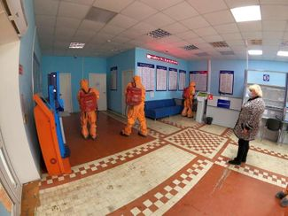 Disinfection efforts in the town of Bogorodskoe