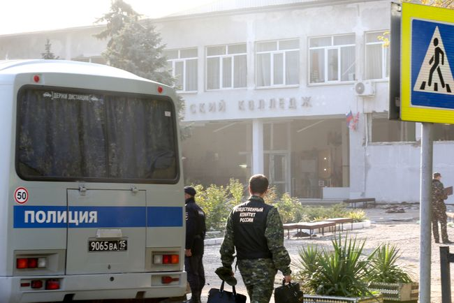 Investigators work outside Kerch Polytechnic College. October 18, 2018