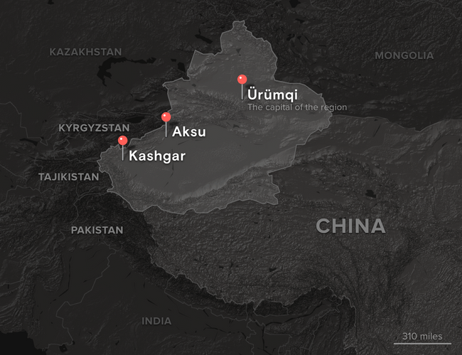 A map of Xinjiang and surrounding territories