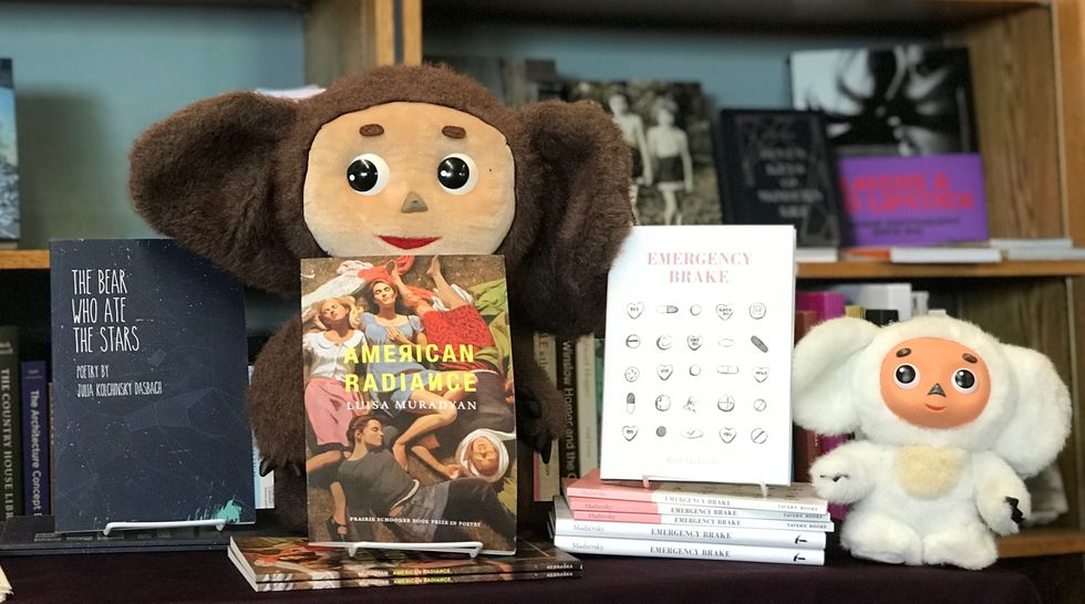 Two Cheburashka dolls watch over books written by members of the Cheburashka Collective. Philadelphia, April 28, 2019