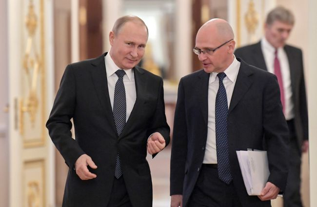 "Vladimir Putin and Sergey Kiriyenko at the Kremlin during a meeting with the winners of the year's ""Leaders of Russia"" contest, March 2019"