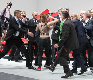 Femen activists at the Hannover Fair, April 8, 2013