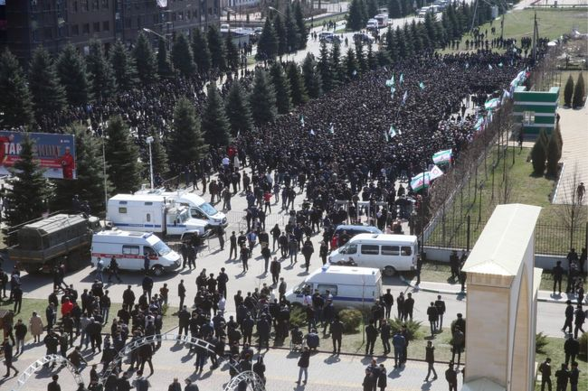 Ingush residents protest against proposed changes to the republic's referendum laws. Magas, March 26, 2019