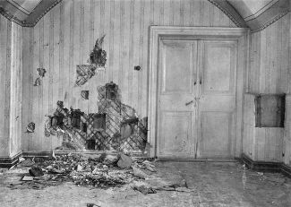 The basement of the Ipatiev House in Yekaterinburg, where the tsar and his family were shot