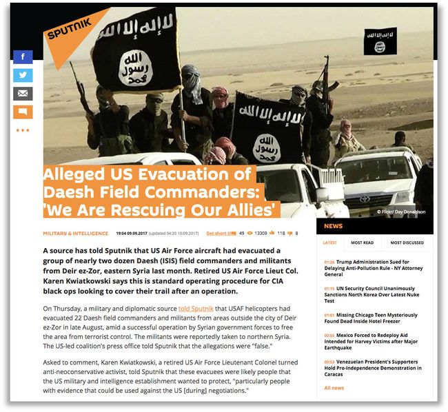 "An <a href=""https://sputniknews.com/military/201709091057248342-us-daesh-commanders-rescue/"" target=""_blank"">example</a> of Sputnik's hard-hitting reporting."