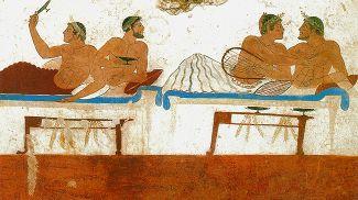 Однополые пары на пиршестве. Фрагмент фрески в