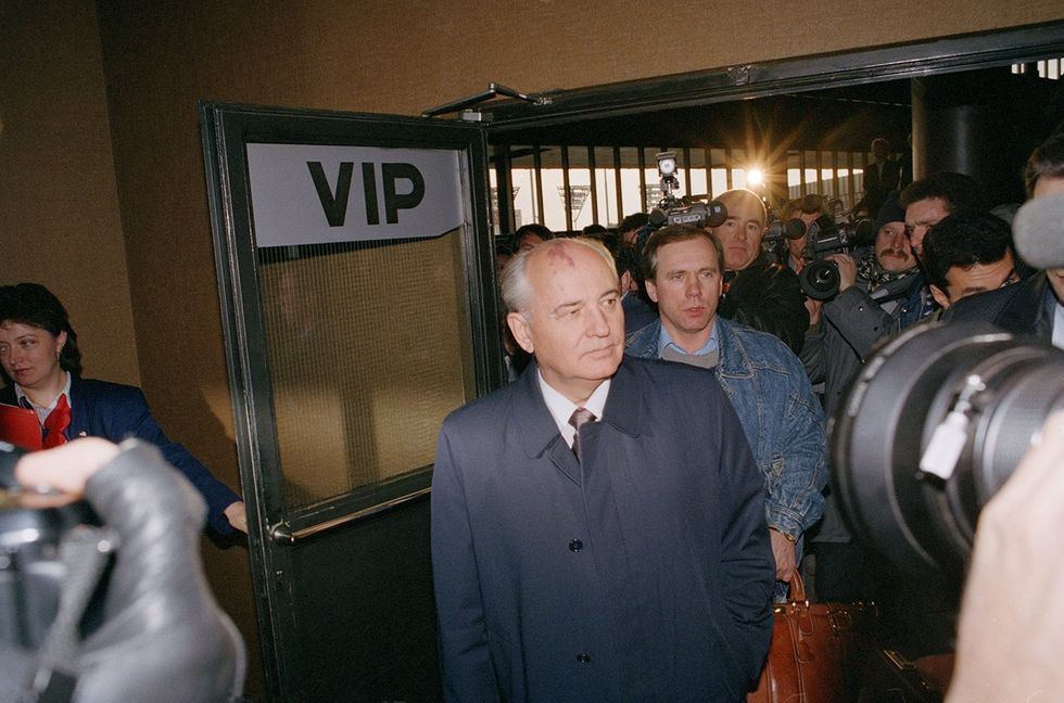 Gorbachev prepares to fly out of Russia to attend the funeral of the German politician Willy Brandt. The former president regained access to his external passport shortly before the trip. October 16, 1992