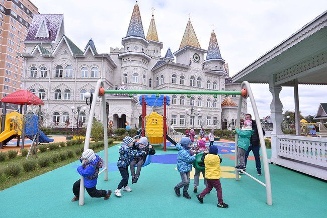 A kindergarten playground in the village where the Lenin State Farm is located. September 27, 2017